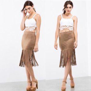 Lovely Day Belinda Fringe Suede Camel Skirt S